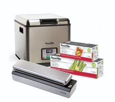 Прибор для приготовления SOUS VIDE SVS-10LS+Вакуумный упаковщик VS3000+Комплект гофрированных пакетов в рулоне