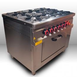 Плита 6-ти конфорочная с духовым шкафом и газовым контроллером МО15-6